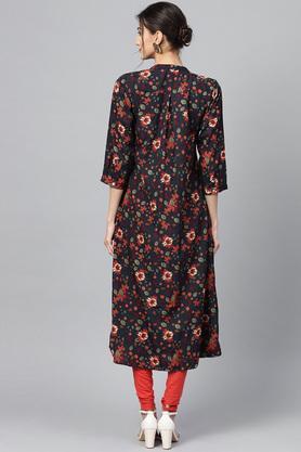 Womens Mandarin Collar Floral Print Kurta