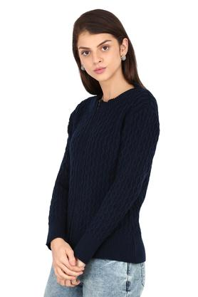 Womens Round Neck Woven Solid Cardigan