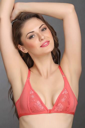 Womens Lacy Non-padded Plunge Bra