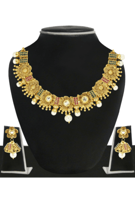 ZAVERI PEARLS Womens Gold Plated Necklace Set - 200929049