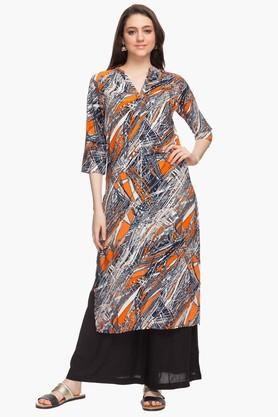 HAUTE CURRY Womens Mandarin Neck Printed Kurta - 201532647