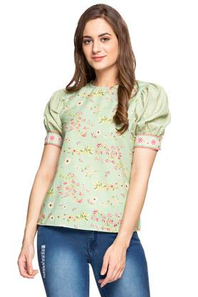 Womens Round Neck Floral Printed Top