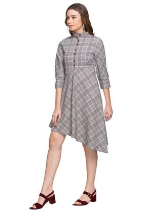 Womens High Neck Checked Asymmetrical Dress