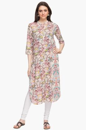 HAUTE CURRY Womens Mandarin Neck Printed Kurta - 201533104
