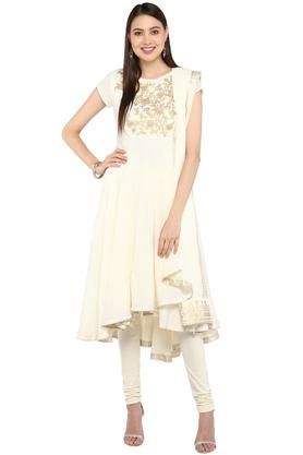 Womens Round Neck Zari Embroidered High Low Churidar Suit