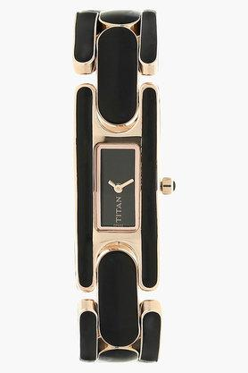 TITAN Womens Black Dial Stainless Steel Analog Watch