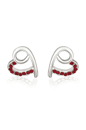 MAHI Mahi Rhodium Plated Peppy Heart Earrings With Red Crystals For Women ER1191762RRed