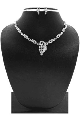 ZAVERI PEARLSFancy Austrian Diamond Necklace Jewel Set - ZPFK3332