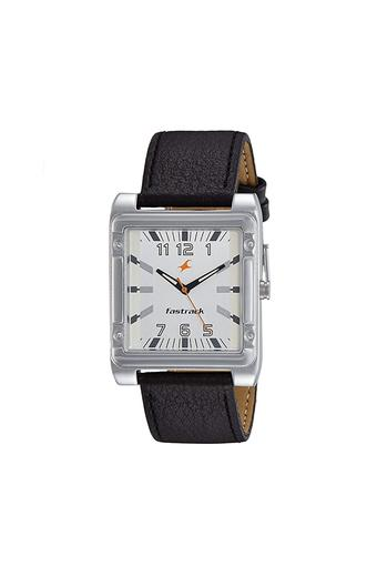 Mens White Dial Leather Analogue Watch - NK3040SL01