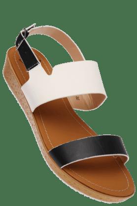 FLAUNTWomens Multi Coloured Ankle Closure Flat Sandal