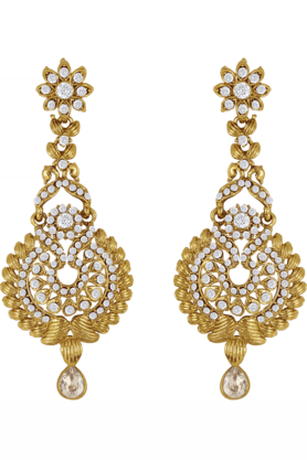 DONNA Traditional Ethnic Golden Peacock Dangler Earrings With Crystal For Women By Donna ER30004G