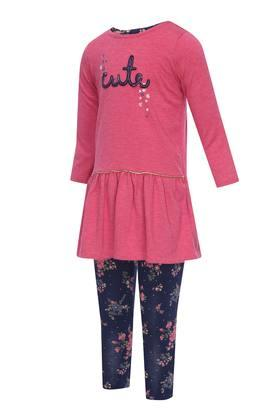 Girls Round Neck Patch Work Flared Dress with Leggings Set