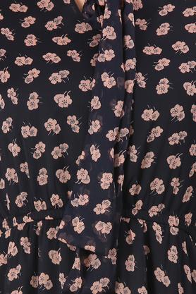 Womens Tie Up Neck Printed Skater Dress