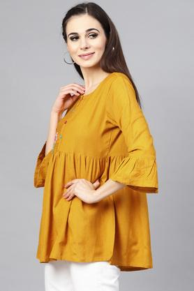 Womens Round Neck Embroidered Tunic