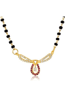 MAHIMahi Gold Plated Alliance Mangalsutra Set With CZ & Ruby For Women NL1103519G2