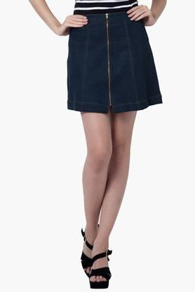 FABALLEY Womens Zippered Mini Skirt - 201827036