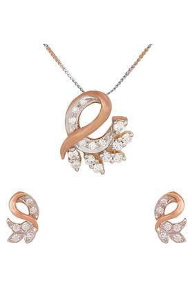 WAMAN HARI PETHEWomens Aabha Collections Diamond Pendant Set DLTSD16008924