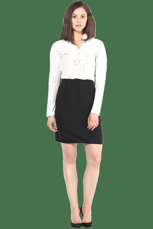Women Colour Block Short Dress with Ruffle Collar