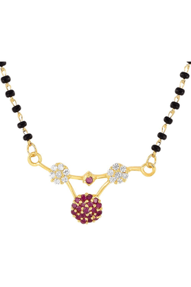 MAHIMahi Gold Plated Magnificent Star Mangalsutra Set Of Brass Alloy With CZ For Women NL1101513G