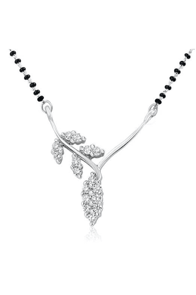MAHIMahi Rhodium Plated Shimmering Leaves Mangalsutra Pendant With CZ For Women PS1191434R