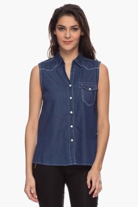 Love Generation Womens Solid Sleeveless Shirt