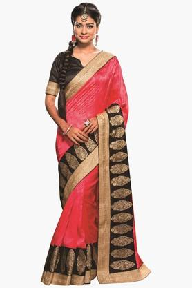 DEMARCA Womens Zari Embroidered Silk Saree