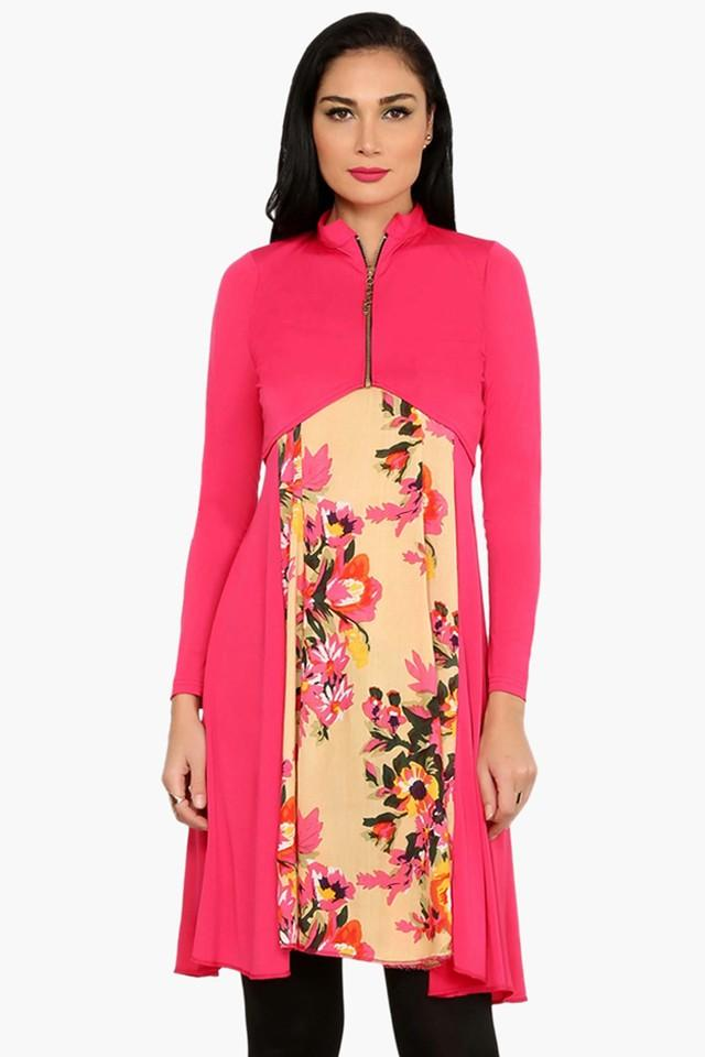 Womens A Line Fit Printed Kurta With Jacket