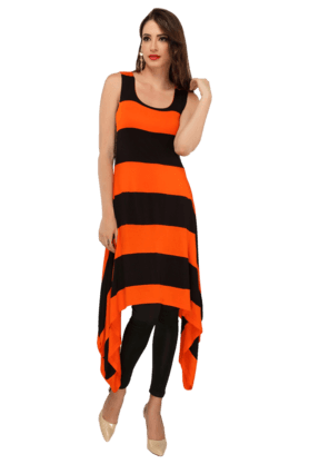 IRA SOLEIL Womens Striped Kurta With Sharkbite Hem