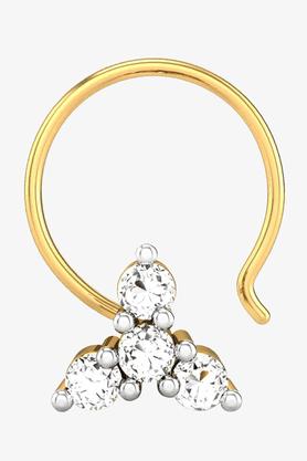 VELVETCASEWomens 18 Karat Yellow Gold Nose Ring (Free Diamond Pendant) - 201065048