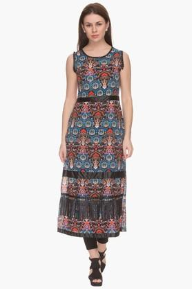MINERAL Womens Printed Casual Maxi Dress