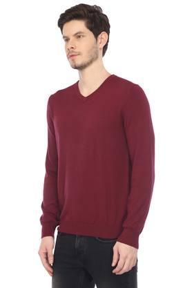 Mens V Neck Solid Sweater