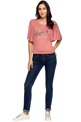 Womens Round Neck Printed Embroidered Top