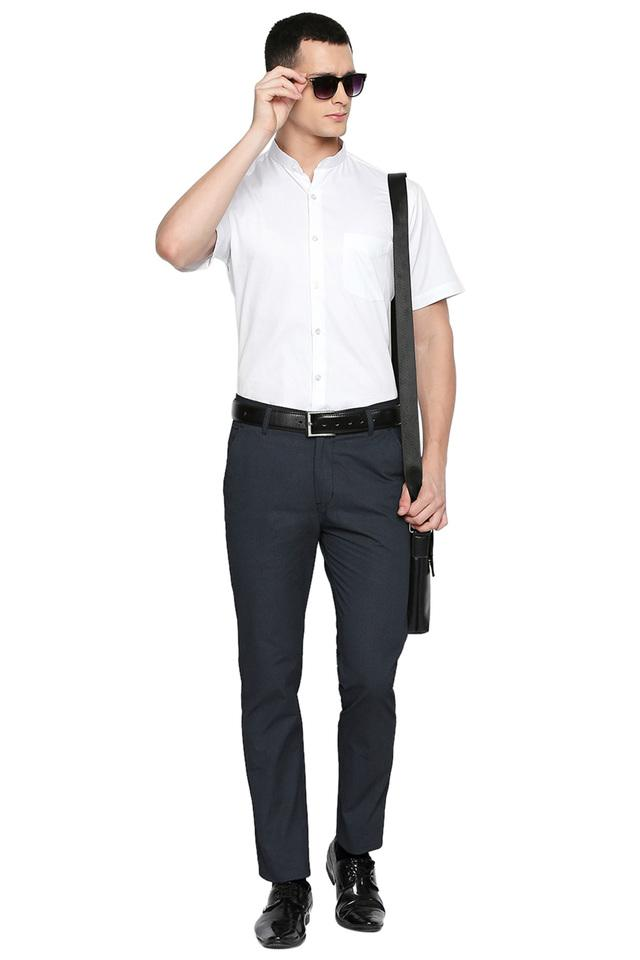 Mens Slim Fit Slub Formal Trousers