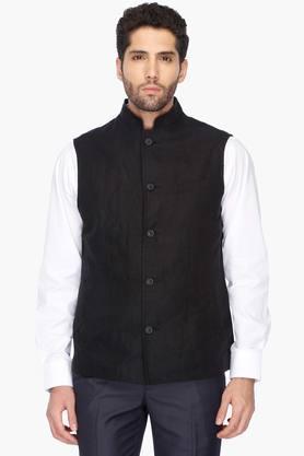 Mens Regular Fit Solid Nehru Jacket (Bandhgala Fit)