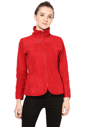 THE VANCA Women Polar Fleece Jacket In Red Color