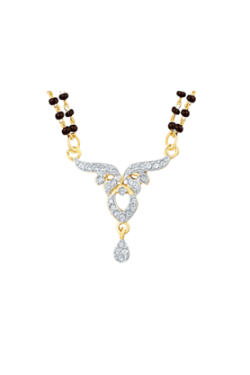 Mahi Gold Plated Pure Alliance Mangalsutra Pendant with CZ for Women PS1196006G2