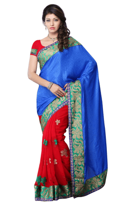DEMARCA De Marca Blue::Red Jacquard::Georgette Designer DF-458A Saree