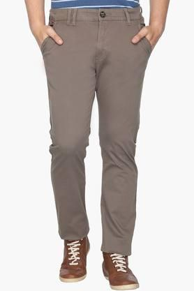 WROGN Mens Slim Fit 4 Pocket Solid Chinos  ...