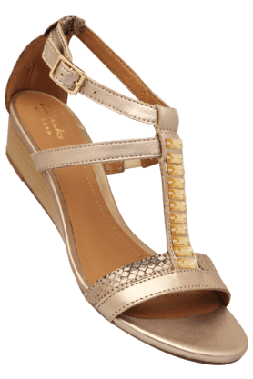CLARKS Womens Ethnic Ankle Buckle Closure Wedge Sandal