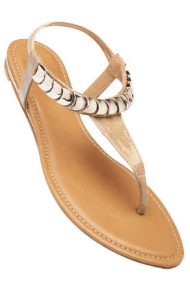 INC.5 Womens Beige Slipon Casual Flat Sandal