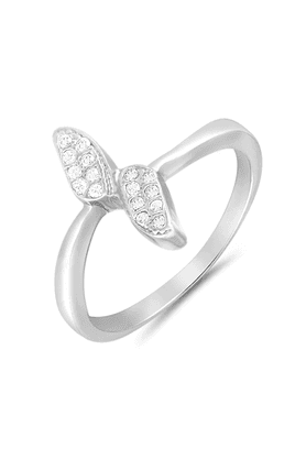 MAHI Mahi Rhodium Plated Leaflet Finger Ring With CZ For Women FR1100657R