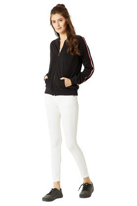 Womens Zip Through Neck Twill Tape Detailing Solid Bomber Jacket