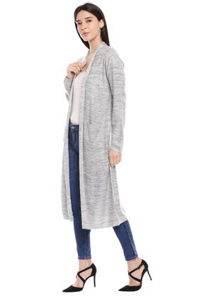 Womens Open Front Slub Knitted Cardigan