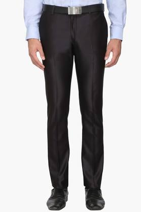 BLACKBERRYS Mens Super Slim Fit 4 Pocket Solid Formal Trousers  ...