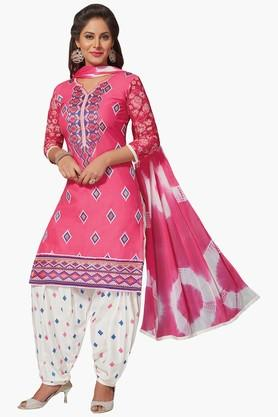 ISHIN Women Cotton Embroidered Unstitched Dress Material