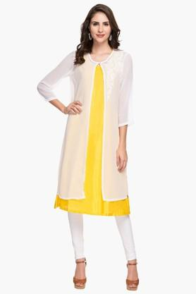 BIBA Womens Round Neck Colour Block Embroidered Layered Kurta