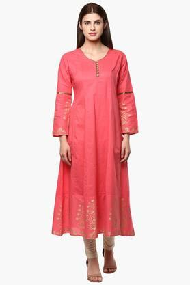 BHAMA COUTURE Women's Round Neck Cotton Printed Kurta - 202529757