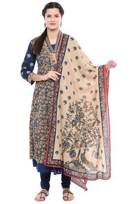Womens V Neck Floral Printed Churidar Suit