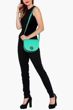 Womens Leather Metallic Lock Closure Sling Bag