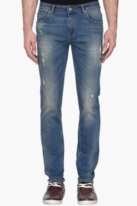 INDIAN TERRAIN Mens Slim Fit Whiskered Jeans